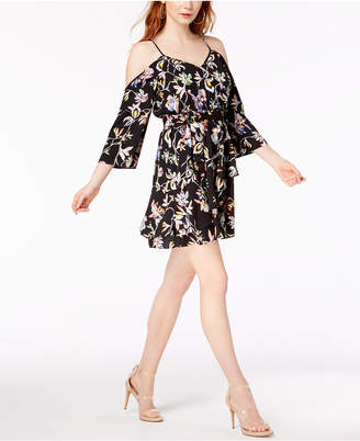 Bar III Cold-Shoulder Printed Dress