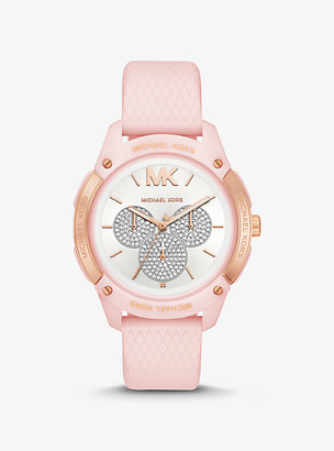 Michael Kors Ryder Embossed Silicone And Rose Gold-Tone Watch