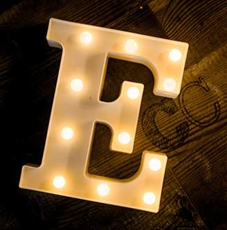 Foaky LED Marquee Letter Lights Sign 26 Alphabet Light Up Marquee Letters Sign for Night Light Wedding Birthday Party Battery Powered Christmas Lamp Home Bar Decoration (E)