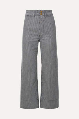 Apiece Apart Liv Cropped Striped Cotton Wide-leg Pants - Blue