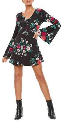 Missguided Floral-Print Skater Fit--Flare Dress