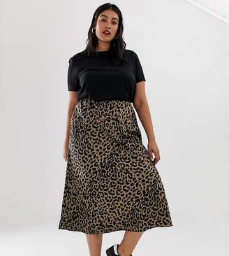 Asos DESIGN Curve bias cut satin midi skirt in leopard print