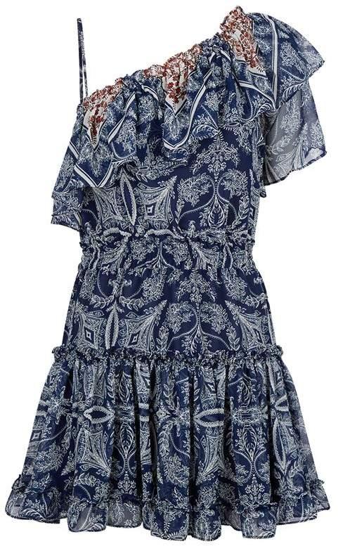Misa Los Angeles One Shoulder Ruffle Dress