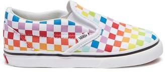 Vans 'Classic Slip-On' rainbow checkerboard print toddler skates