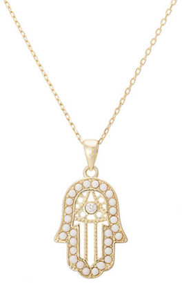Lord & Taylor Goldtone Necklace with Pearl and Crystal Embellished Hamsa Pendant $90 thestylecure.com