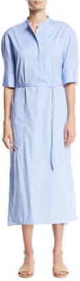 Joseph Barker Pinstriped Belted Shirtdress