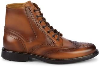 Saks Fifth Avenue Burn Brogue Wingtip Leather Boots