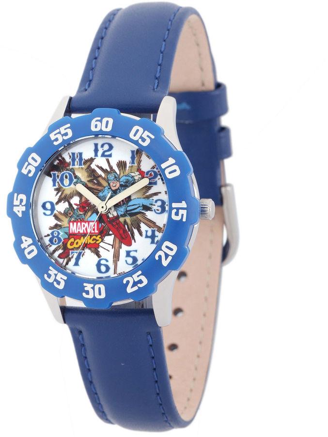 MARVEL Marvel Captain America Kids Blue Leather Strap Watch