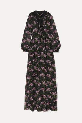 Giambattista Valli Lace-trimmed Floral-print Silk-georgette Gown - Black