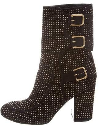 Laurence Dacade Embellished Suede Mid-Calf Boots Black Embellished Suede Mid-Calf Boots