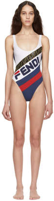 Fendi White and Navy Mania One-Piece Swimsuit