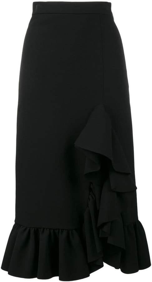 MSGM side ruffle midi skirt