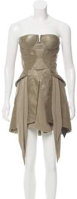 Jen Kao Leather & Silk Dress w/ Tags