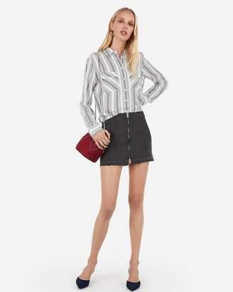 Express High Waisted Zip Front Denim Mini Skirt