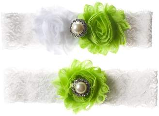 The Pink Bunny Garters Lime Green and White Shabby Flower Wedding Garter Set