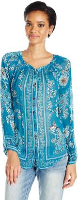 Lucky Brand Women's Turquoise Blouse