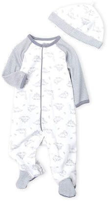 Little Me Newborn Boys) Two-Piece Dinosaur Footie & Beanie Set