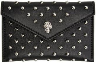 Alexander McQueen Black Studded Skull Card Holder $245 thestylecure.com