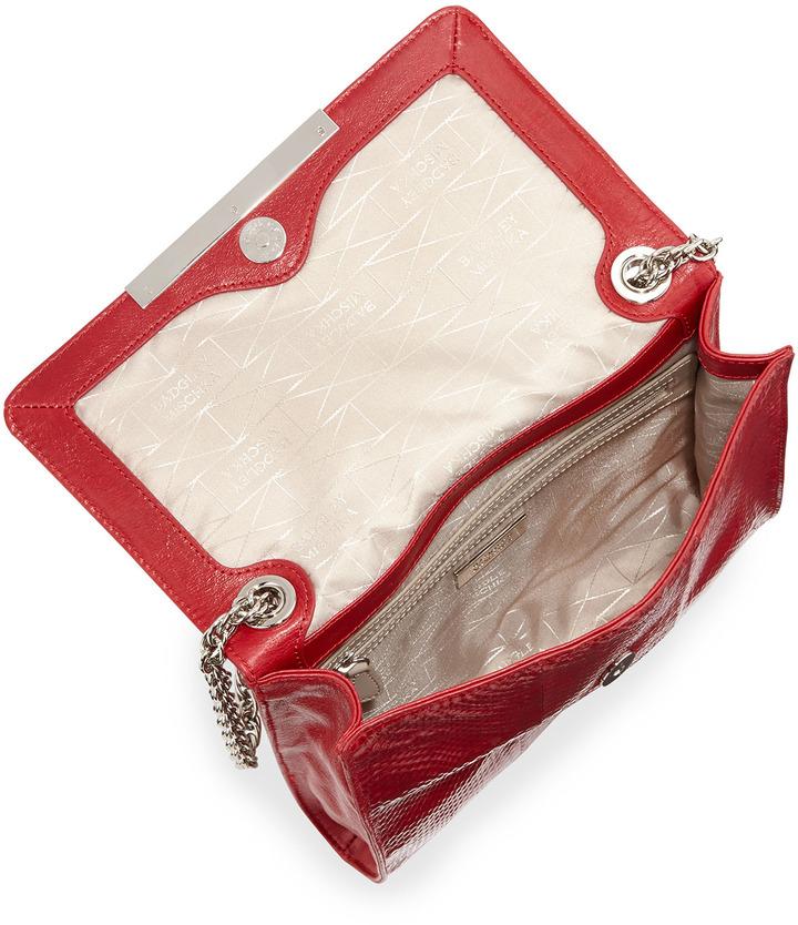 Badgley Mischka Justine Snake-Embossed Leather Shoulder Bag, Red