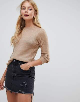 Brave Soul Zennor Crew Neck Jumper With Rib Detail