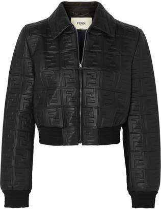 Fendi Cropped Embossed Leather Jacket - Black