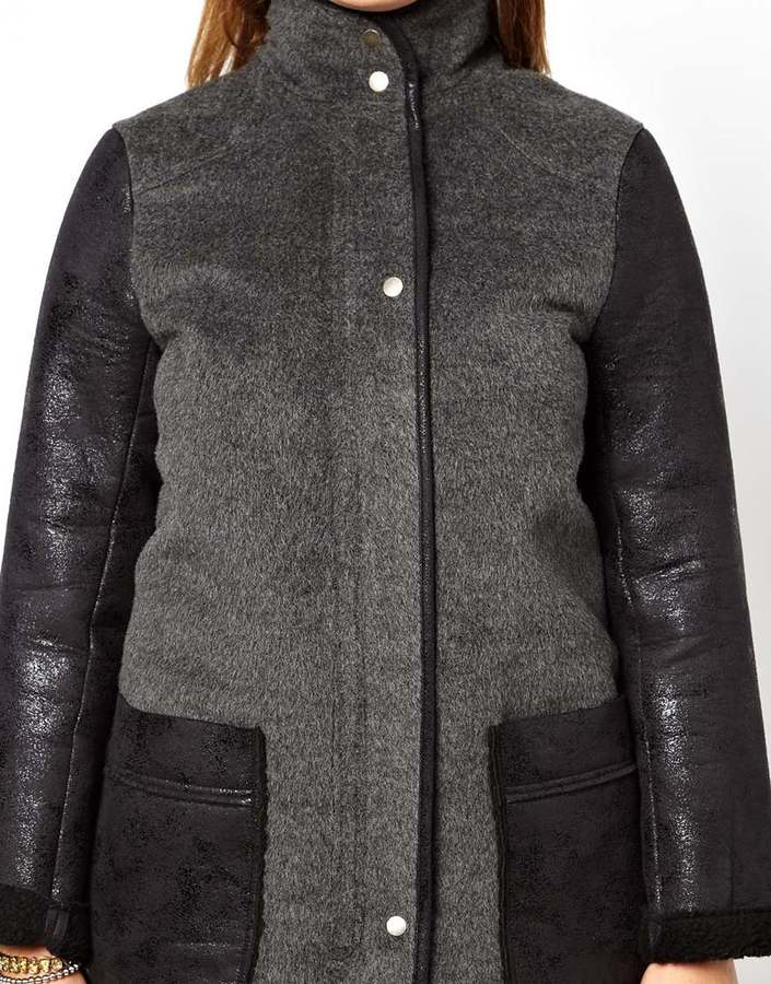 Asos Exclusive Coat With PU Pockets