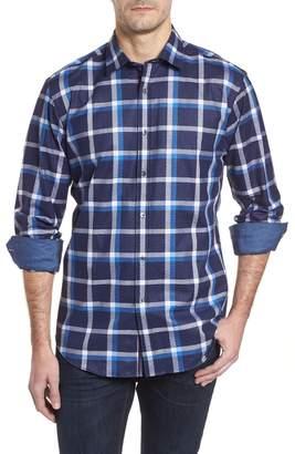 Bugatchi Shaped Fit Windowpane Plaid Sport Shirt