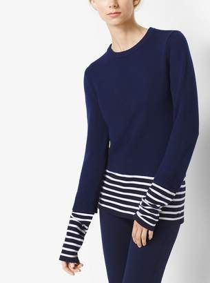 Michael Kors Striped Cotton and Cashmere Pullover
