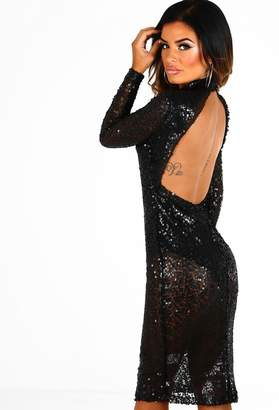 Pink Boutique Don't Blame Me Black Sequin Backless Long Sleeve Midi Dress
