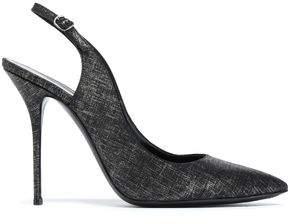 Casadei Croc-Effect Leather Slingback Pumps