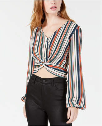 Polly & Esther Juniors' Striped Twist-Detailed Button-Front Top