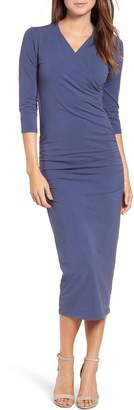 Michael Stars Ruched Surplice Stretch Cotton Body-Con Dress