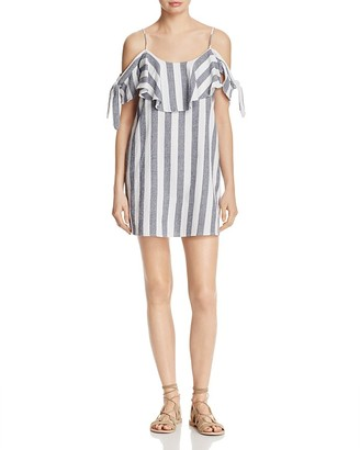 MISA Los Angeles Nicolette Cold Shoulder Stripe Dress $202 thestylecure.com