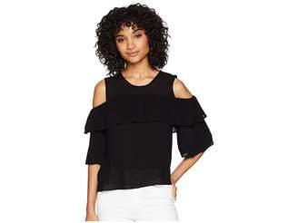 BCBGMAXAZRIA Cold Shoulder Ruffle Top Women's Clothing