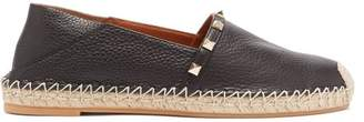 Valentino Rockstud Leather Espadrilles - Womens - Black