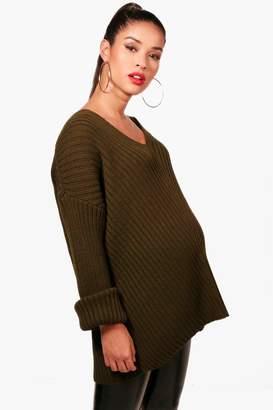 boohoo Maternity Abbie Slouchy V Neck Jumper