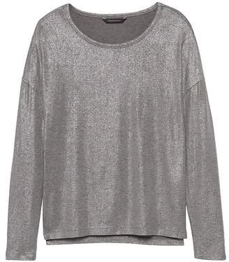 Banana Republic Soft-Stretch Long-Sleeve Metallic Relaxed T-Shirt