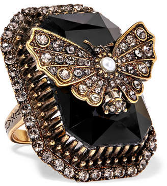Alexander McQueen Gold-plated, Swarovski Crystal And Faux Pearl Ring - Black