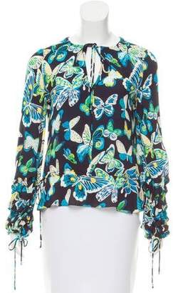 Tory Burch Silk Butterfly Print Top