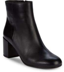"Vince Blakely Leather Block Heel Booties/2.5"""