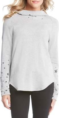 Karen Kane Star Print Hooded Pullover Top