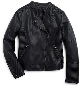 Aqua Girls' Quilted Faux-Leather Moto Jacket, Big Kid - 100% Exclusive