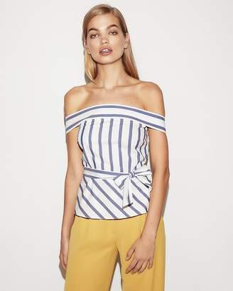 Express Stripe Off The Shoulder Tie Waist Peplum Top