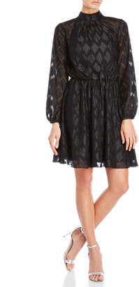 Karen Millen Black Metallic Jacquard Dress