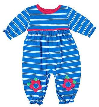 Florence Eiseman Girl's Striped Coverall w/ Flower Knee Appliques, Size 3-18 Months