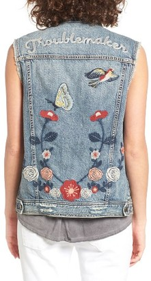 Women's Bp. Troublemaker Embroidered Denim Vest $109 thestylecure.com