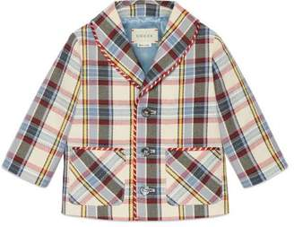 Gucci Baby check cotton linen jacket