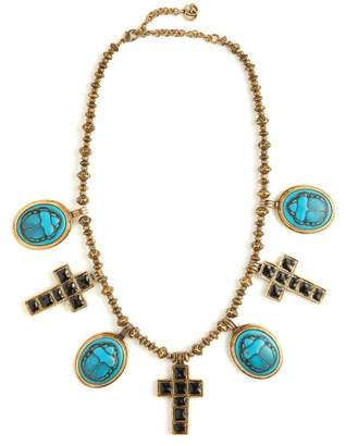 Gucci Beetle And Cross Pendant Bead Necklace - Womens - Blue