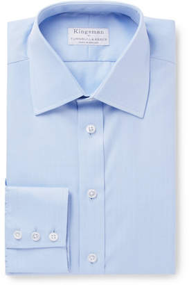 Turnbull & Asser Kingsman + Blue Herringbone Cotton Shirt