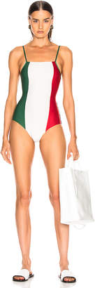 Adriana Degreas Italy Tricolor Swimsuit in Green, Off White & Red | FWRD
